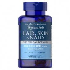 Puritans Pride Hair, Skin Nails One Per Day Formula 60 soft gel