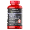 Puritans Pride Maximum Strength Triple Omega 3-6-9 Fish Flax and Chia Oils 120 Softgels