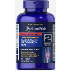 Puritans Pride Triple Strength Glucosamine Chondroitin and MSM Joint Soother® 90 cap (45 дней приема)